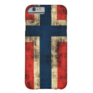 Bandera del Grunge del vintage de Noruega Funda De iPhone 6 Barely There