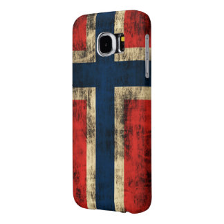 Bandera del Grunge del vintage de Noruega Funda Samsung Galaxy S6