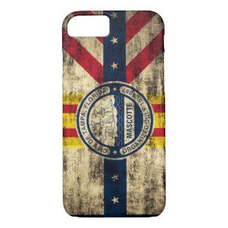 Bandera del Grunge del vintage de Tampa la Florida Funda iPhone 7