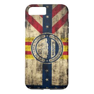 Bandera del Grunge del vintage de Tampa la Florida Funda iPhone 7 Plus
