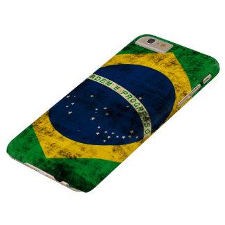 Bandera del Grunge del vintage del Brasil Funda Para iPhone 6 Plus Barely There