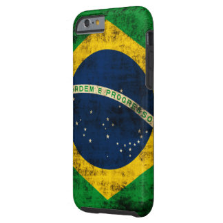 Bandera del Grunge del vintage del Brasil Funda Para iPhone 6 Tough