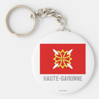 Bandera del Haute-Garonne con nombre Llavero Redondo Tipo Pin