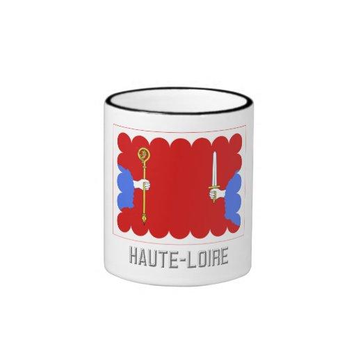 Bandera del Haute-Loire con nombre Tazas De Café