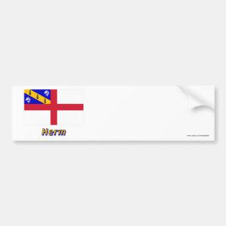 Bandera del Herm con nombre Pegatina Para Auto
