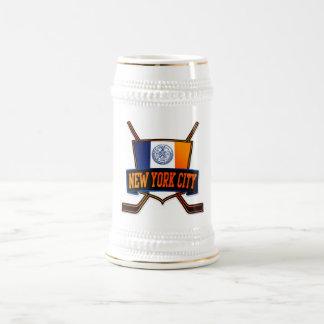 Bandera del hockey de New York City Jarra De Cerveza