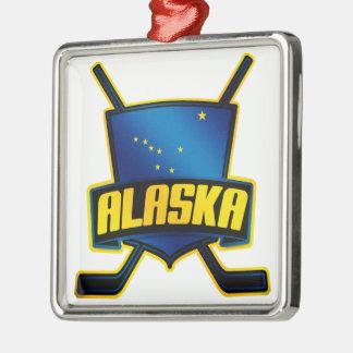 Bandera del hockey sobre hielo de Alaska Adorno Navideño Cuadrado De Metal