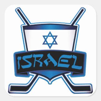 Bandera del hockey sobre hielo de Israel Pegatinas Cuadradases Personalizadas