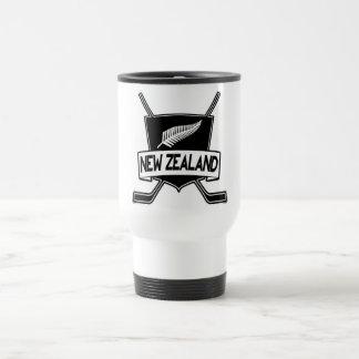 Bandera del hockey sobre hielo de Nueva Zelanda Taza De Viaje