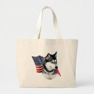 Bandera del husky siberiano bolsas de mano