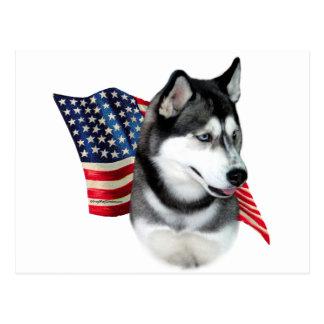 Bandera del husky siberiano postal