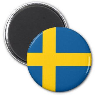 Bandera del imán redondo de Suecia