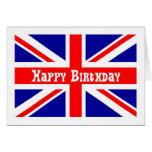 Bandera del inglés de la tarjeta de cumpleaños de