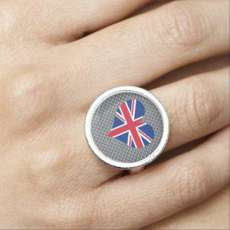 Bandera del inglés en fondo del metal anillos con foto
