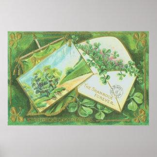 Bandera del irlandés de la postal del sobre del tr póster
