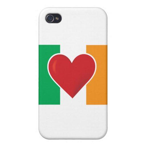 Bandera del irlandés del corazón iPhone 4 cárcasa