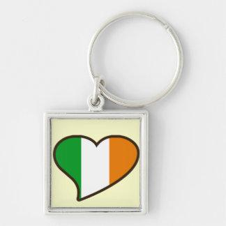 Bandera del irlandés del día de los patricks del S Llavero Cuadrado Plateado