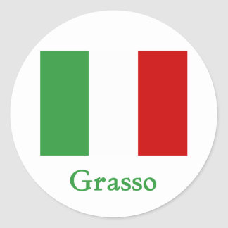 Bandera del italiano de Grasso Pegatina Redonda
