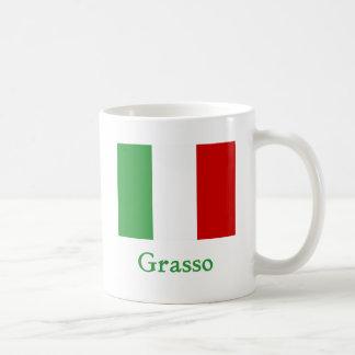 Bandera del italiano de Grasso Taza Básica Blanca