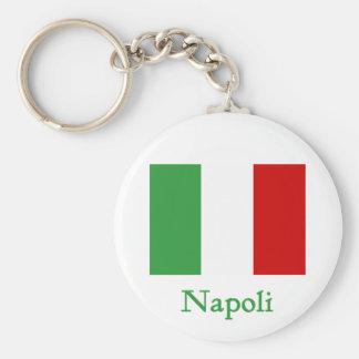 Bandera del italiano de Napoli Llavero Redondo Tipo Pin