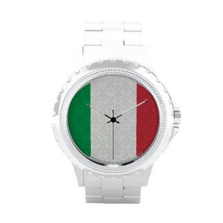 Bandera del italiano del modelo del damasco relojes de pulsera