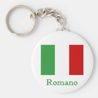 Bandera del italiano del romano llavero redondo tipo pin