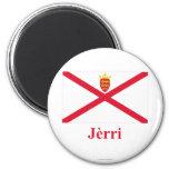 Bandera del jersey con nombre en Jerriais Imán Para Frigorifico