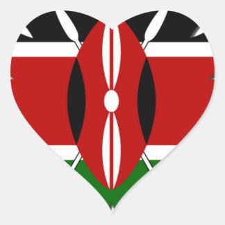 Bandera del Kenyan de Jambo Pegatina En Forma De Corazón