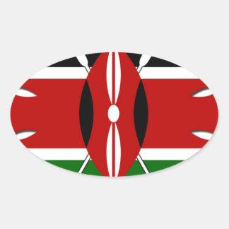 Bandera del Kenyan de Jambo Pegatina Ovalada