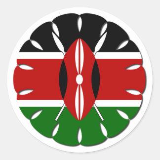 Bandera del Kenyan de Jambo Pegatina Redonda