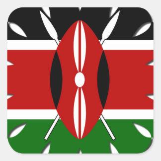 Bandera del Kenyan de Jambo Pegatina Cuadrada