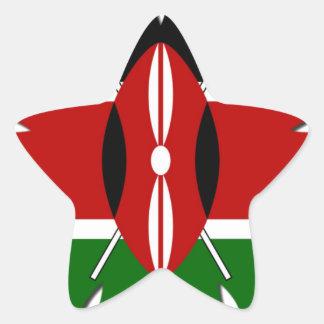 Bandera del Kenyan de Jambo Pegatina En Forma De Estrella