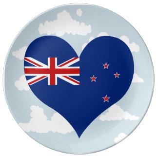 Bandera del kiwi en un fondo nublado