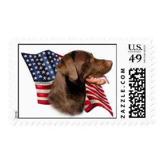Bandera del labrador retriever del chocolate - sellos postales