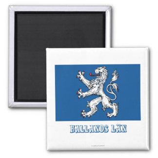Bandera del län de Hallands con nombre Imán Cuadrado