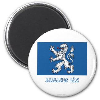 Bandera del län de Hallands con nombre Imán Redondo 5 Cm