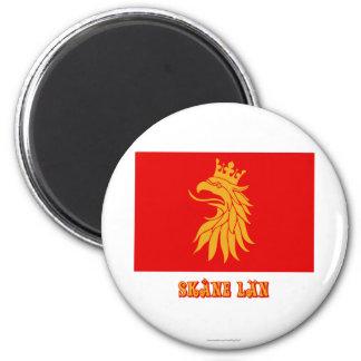Bandera del län de Skåne con nombre Imán Redondo 5 Cm