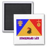 Bandera del län de Stockholms con nombre Imán Cuadrado
