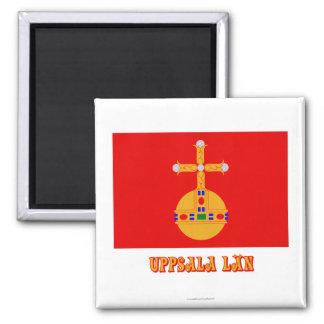 Bandera del län de Uppsala con nombre Imán Cuadrado