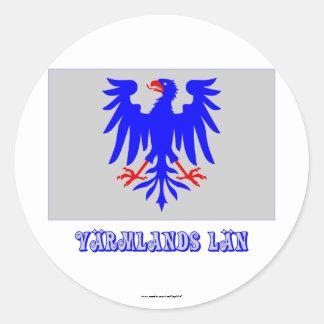 Bandera del län de Värmlands con nombre Pegatina Redonda