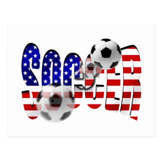Bandera del lanzamiento del logotipo del fútbol de tarjeta postal