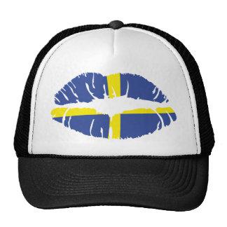 bandera del lápiz labial del beso de Suecia Gorra