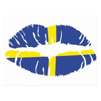 bandera del lápiz labial del beso de Suecia Tarjetas Postales