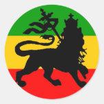 Bandera del león pegatina redonda