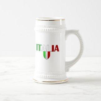 Bandera del logotipo de Italia del escudo de Itali Tazas