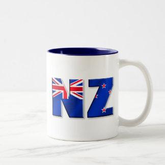 Bandera del logotipo de NZ de Nueva Zelanda Taza De Dos Tonos