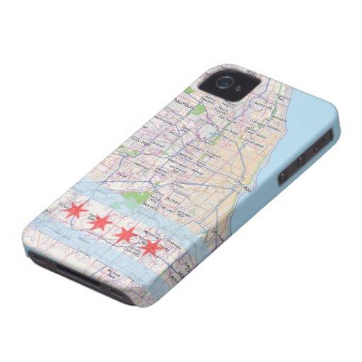 Bandera del mapa de Chicago iPhone 4 Protector