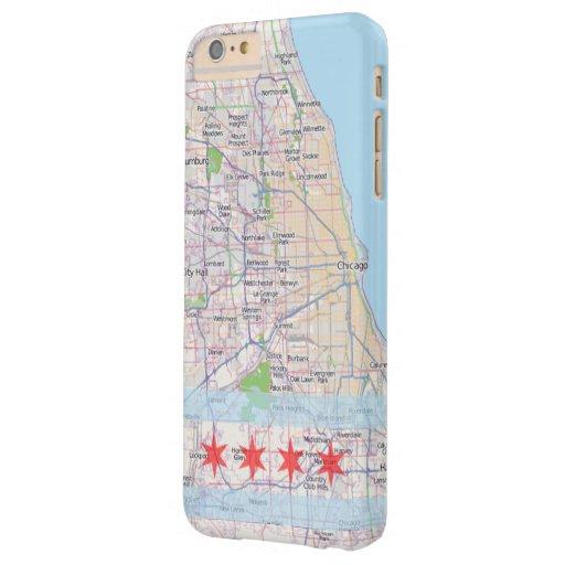 Bandera del mapa de Chicago Funda De iPhone 6 Plus Barely There
