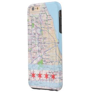 Bandera del mapa de Chicago Funda De iPhone 6 Plus Tough