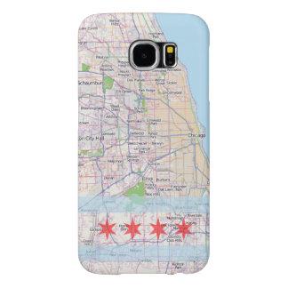 Bandera del mapa de Chicago Fundas Samsung Galaxy S6